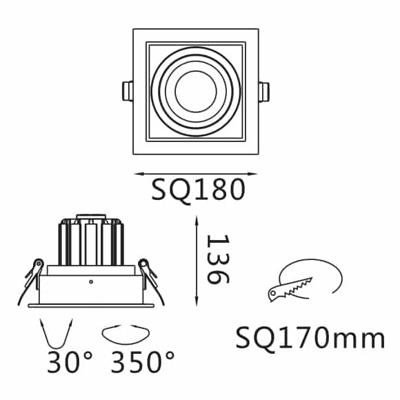 Recessed Grille Light - FS2019A-35 - Dia