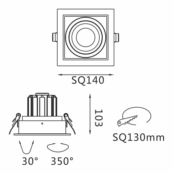 Recessed Grille Light - FS2023A-15 - Dia