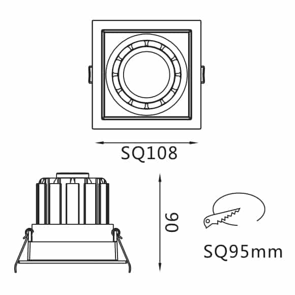 Recessed Grille Light - FS2027-13 - Dia