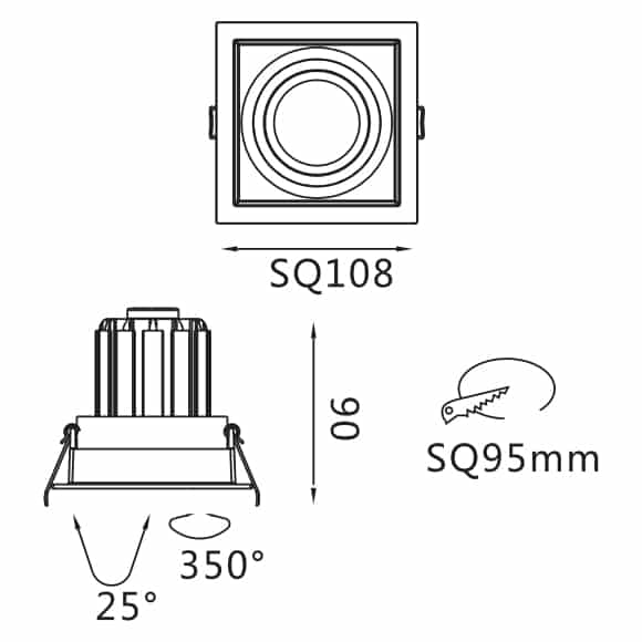 Recessed Grille Light - FS2027A-13 - Dia
