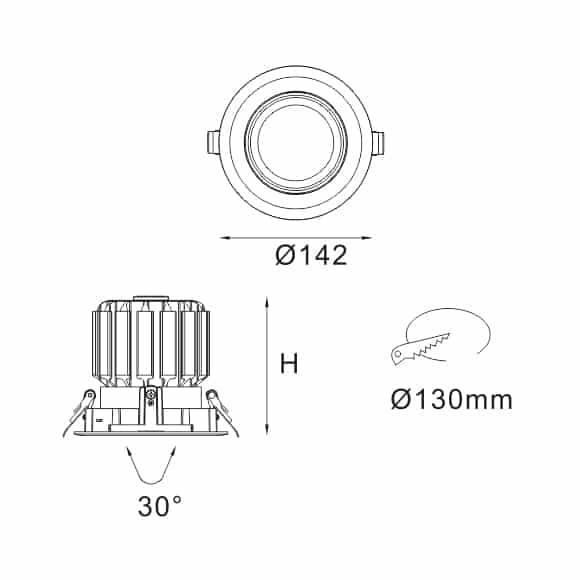 LED Ceiling Downlight - FS5070-30 - Dia