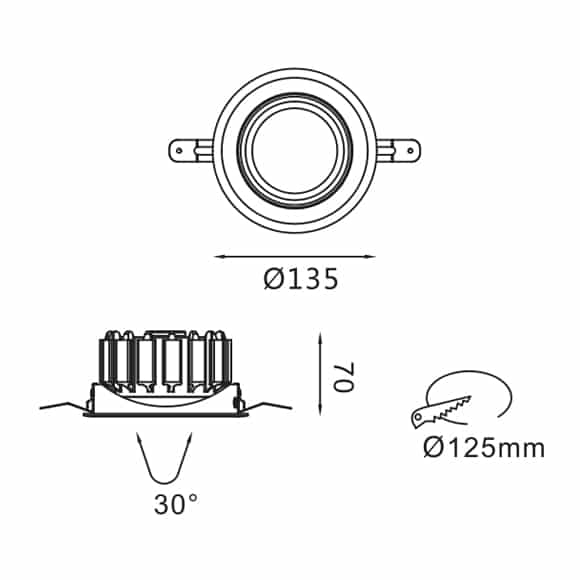 LED Ceiling Downlights - FS5072-25 - Dia