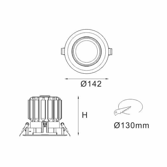 LED Ceiling Downlights - FS5080-30 - Dia