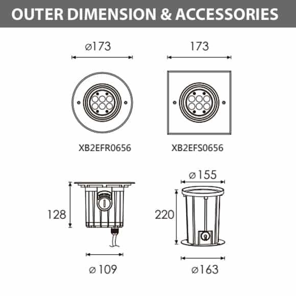 In-ground Light - XB2EFR0656 - XB2EFS0656 Dimension