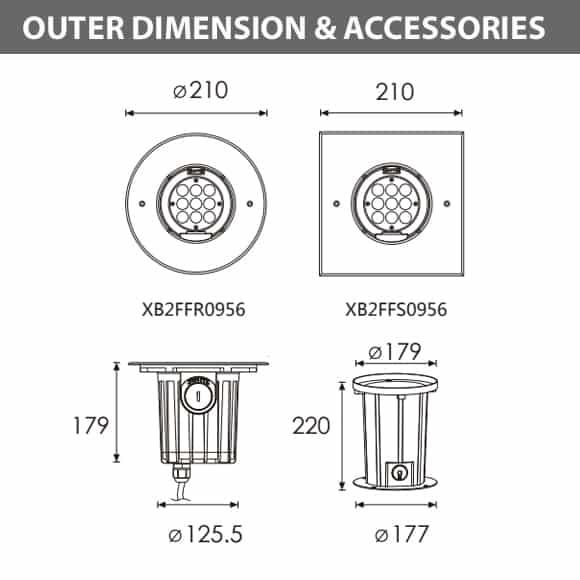In-ground Light - XB2FFR0956 - XB2FFS0956 Dimension