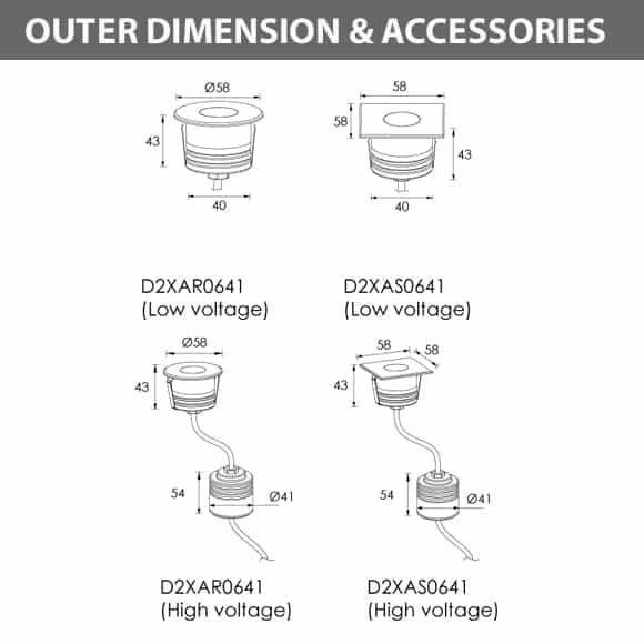 Recessed Wooden Floor Light - D2XAR0641 - D2XAS0641 Dia