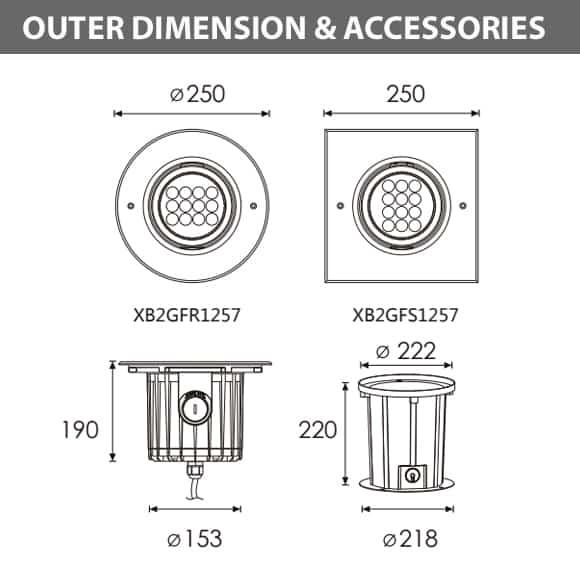 XB2GFR1257 - XB2GFS1257 Dimension
